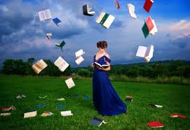 lady with books in air